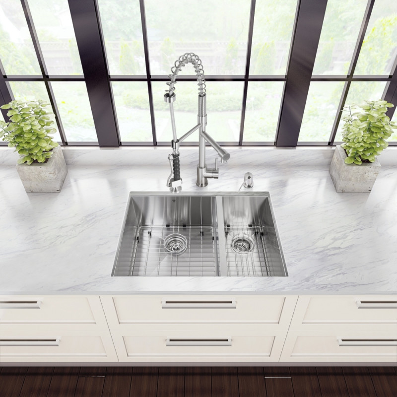 Undermount Stainless Steel Kitchen Sink Faucet Two Strainers And Dispenser