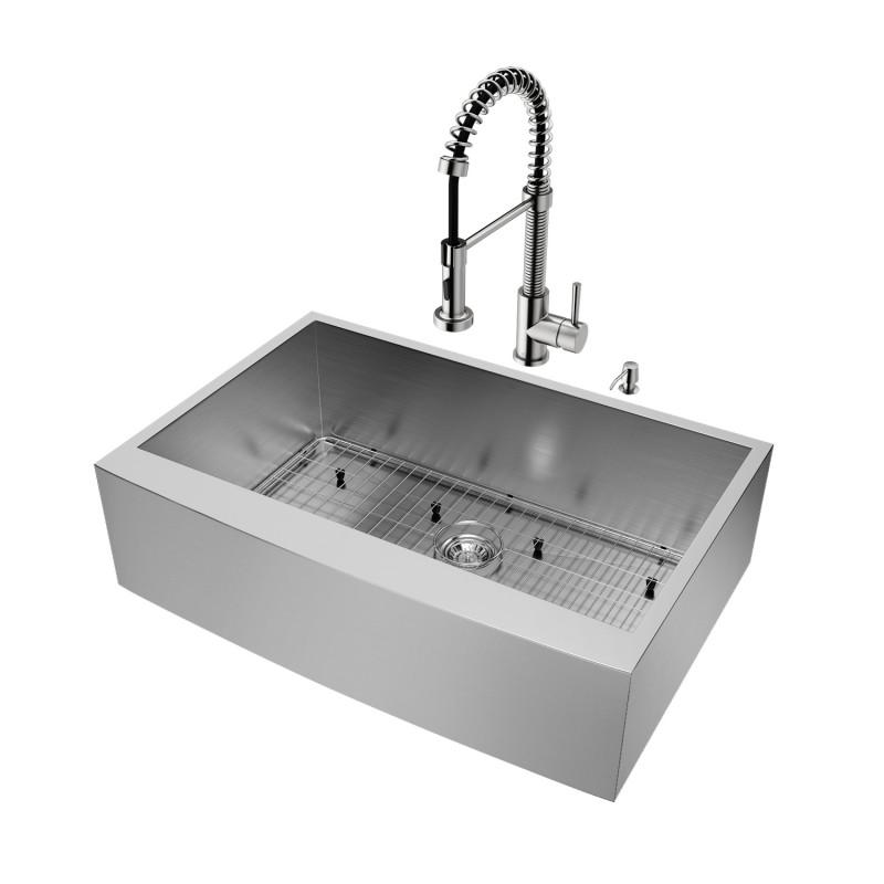 Vigo All In One 33 Camden Stainless Steel Farmhouse Kitchen Sink Set With Edison Faucet In