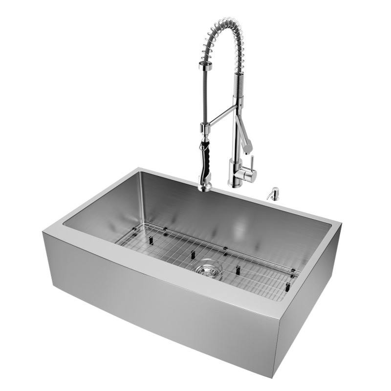 Vigo All In One 33 Bedford Stainless Steel Farmhouse Kitchen Sink Set With Zurich Faucet In