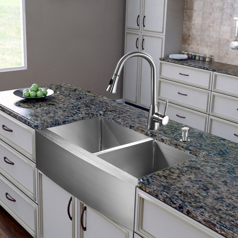 All In One 36 Inch Farmhouse Stainless Steel Double Bowl Kitchen Sink And Faucet Set