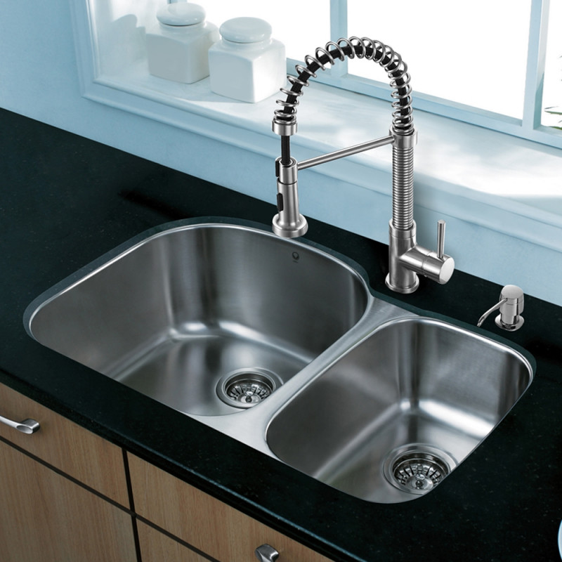 All-in-One 31-inch Undermount Stainless Steel Kitchen Sink and ... on wall mount kitchen sink faucet, farmhouse kitchen sink faucet, single kitchen sink faucet,