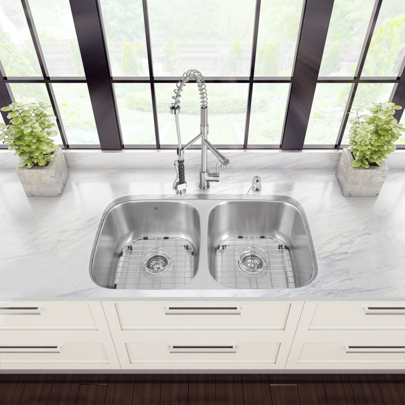 All-in-One 32-inch Undermount Stainless Steel Kitchen Sink and ... on antique kitchen faucets, contemporary kitchen faucets, copper kitchen faucets, free-standing kitchen faucets, stainless kitchen faucets, other kitchen faucets, deck mount kitchen faucets, double kitchen faucets, designer kitchen faucets, white kitchen faucets, kitchen kitchen faucets, elkay kitchen faucets, home kitchen faucets, bathroom kitchen faucets, granite kitchen faucets, kohler kitchen faucets, flushmount kitchen faucets, black kitchen faucets, ceramic kitchen faucets, victorian kitchen faucets,