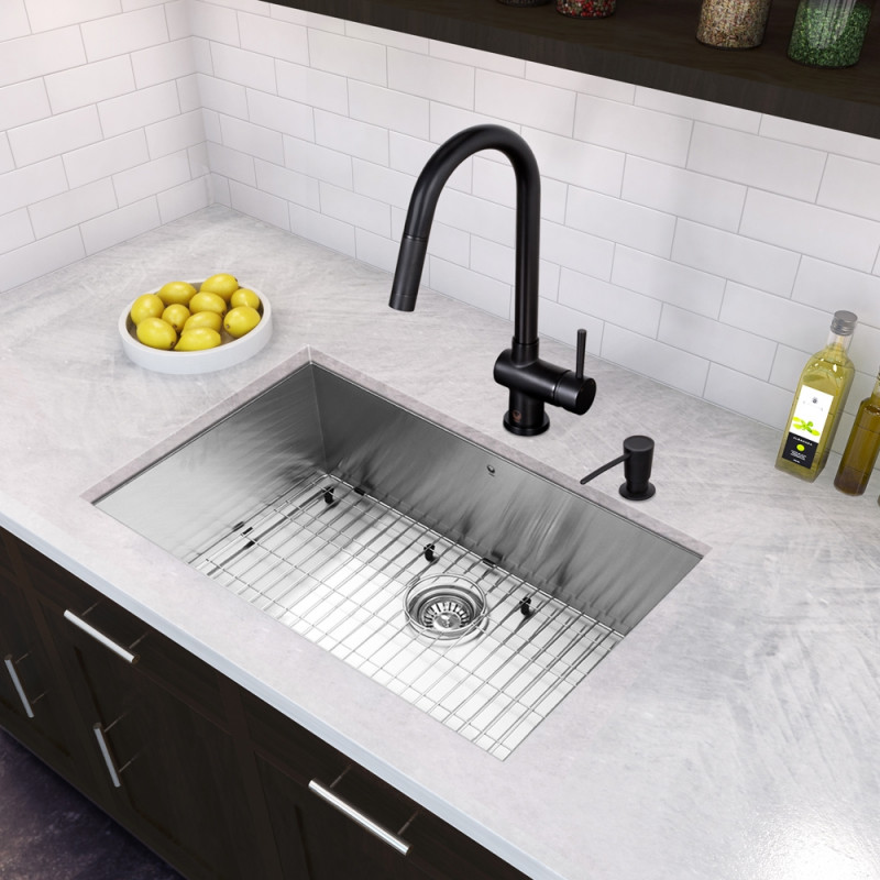 30 Inch Undermount Stainless Steel 16 Gauge Single Bowl Kitchen Sink And Gramercy Matte Black Pull Down Faucet