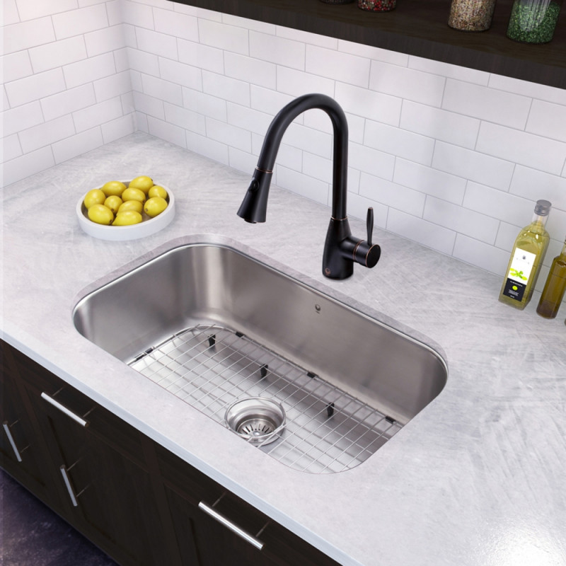 30 Inch Undermount Stainless Steel 18 Gauge Single Bowl Kitchen Sink And Ayury Antique Rubbed Bronze Pull Down Spray Faucet