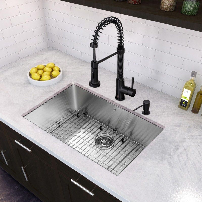 30 Inch Undermount Stainless Steel 16 Gauge Single Bowl Sink And