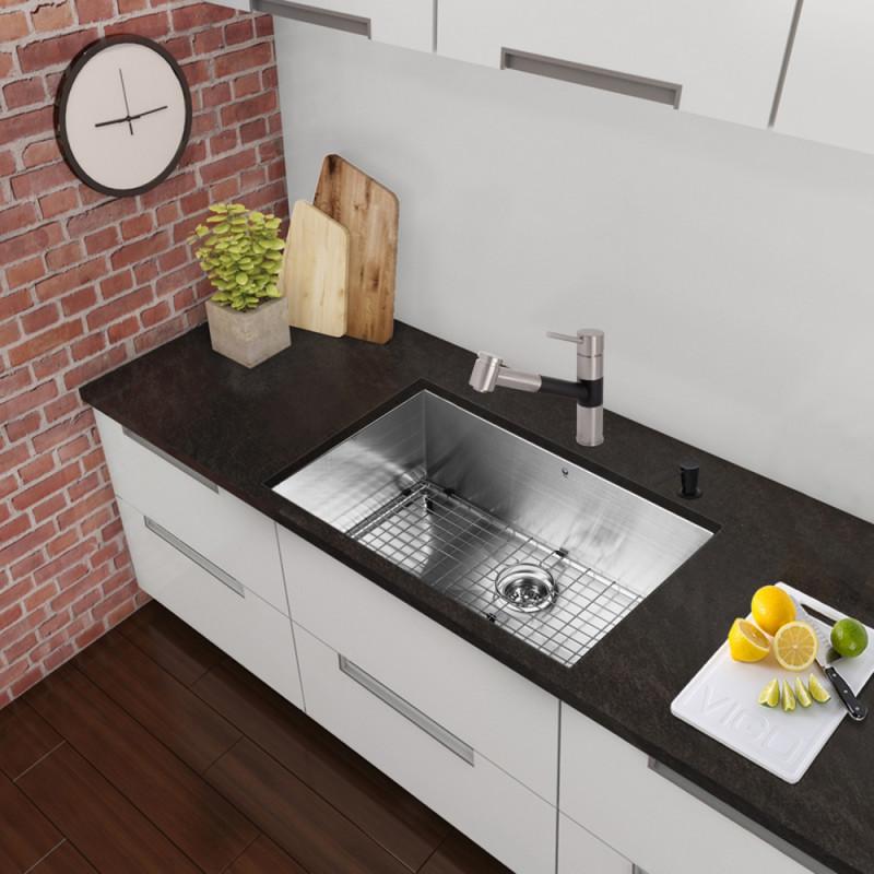 VIGO All In One 30 Inch Stainless Steel Undermount Kitchen Sink And Branson Stainless  Steel/Matte Black Faucet Set