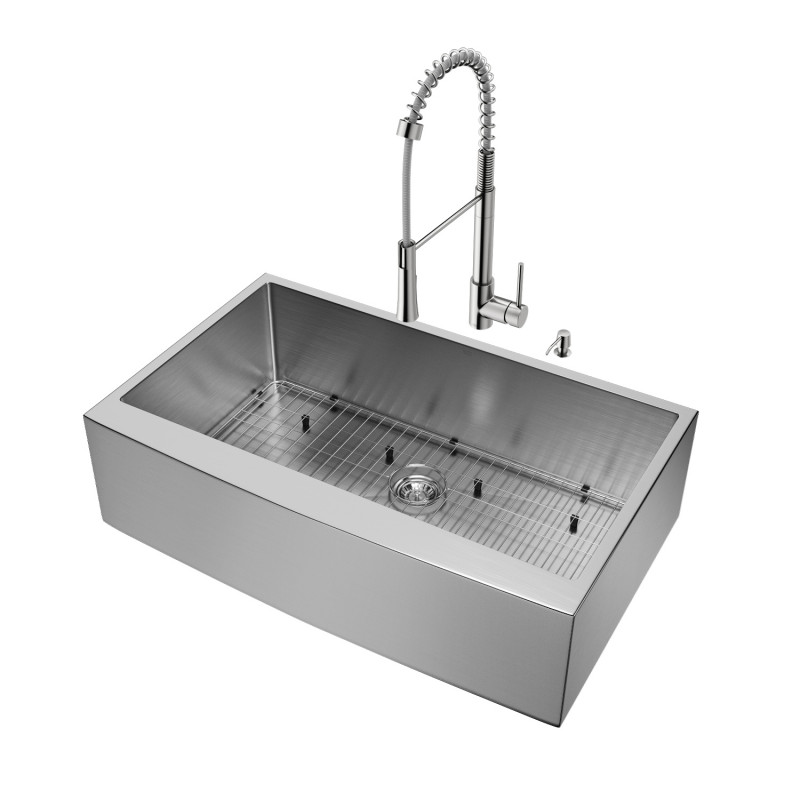 "Vigo All In One Camden Farmhouse Kitchen Sink Set: VIGO All-In-One 36"" Camden Stainless Steel Farmhouse"