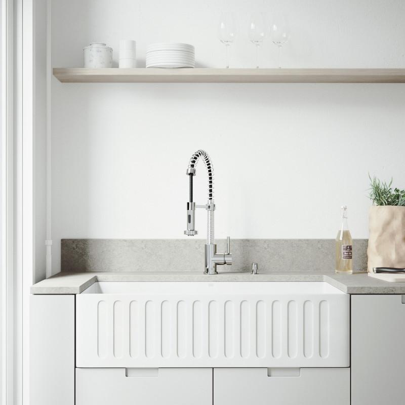 Vigo All In One 36 Matte Stone Farmhouse Kitchen Sink Set With