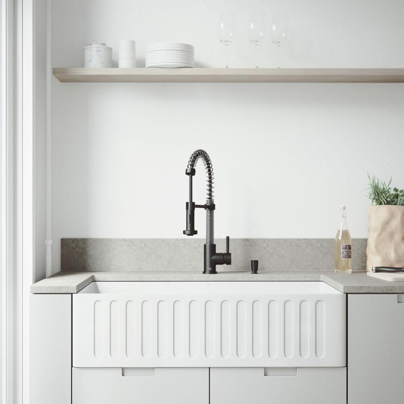 Superb Vigo All In One 36 Matte Stone Farmhouse Kitchen Sink Set Download Free Architecture Designs Scobabritishbridgeorg