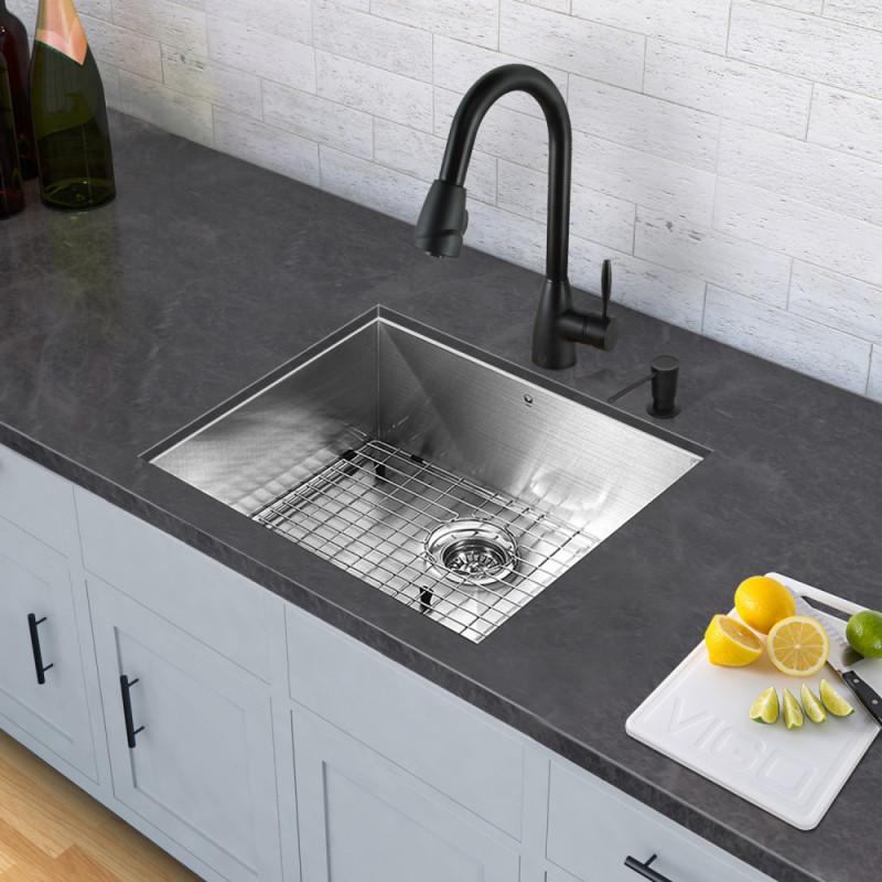 Vigo All In One 23 Inch Stainless Steel Undermount Kitchen Sink And Graham Matte Black Faucet Set