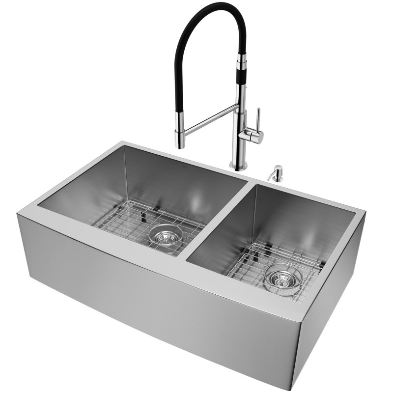 """Kitchen Sink Set: VIGO All-In-One 36"""" Chisholm Stainless Steel Double Bowl"""