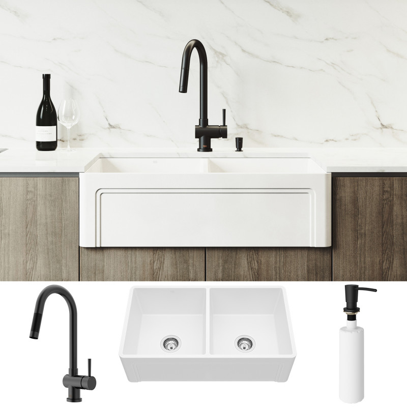 Vigo All In One 33 Casement Front Matte Stone Double Bowl Farmhouse Apron Kitchen Sink Set With Gramercy Faucet In Matte Black Two Strainers And Soap Dispenser