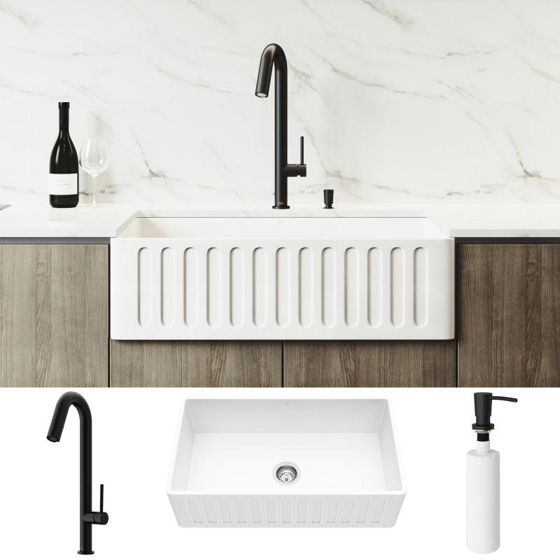 Vigo 33 Matte Stone Apron Front White Farmhouse Kitchen Sink With Oakhurst Led Pull Down Faucet In Matte Black