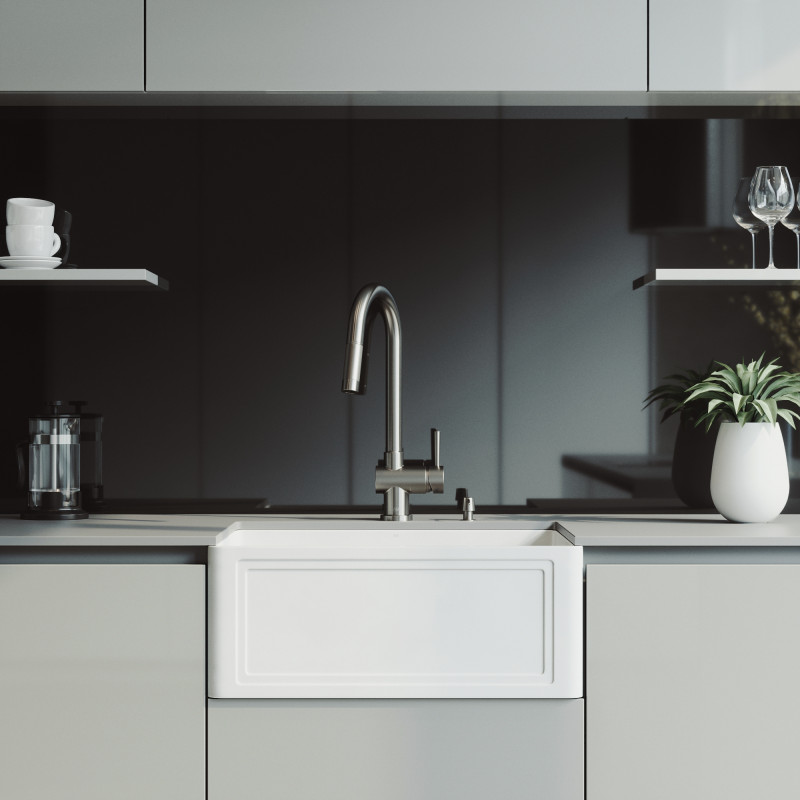 VIGO 24-inch Crown Apron Front Matte Stone™ Farmhouse Sink ...