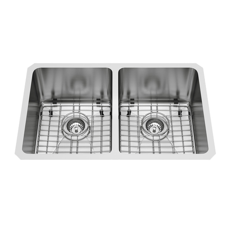 Newhall Stainless Steel Undermount Double Bowl Kitchen Sink With