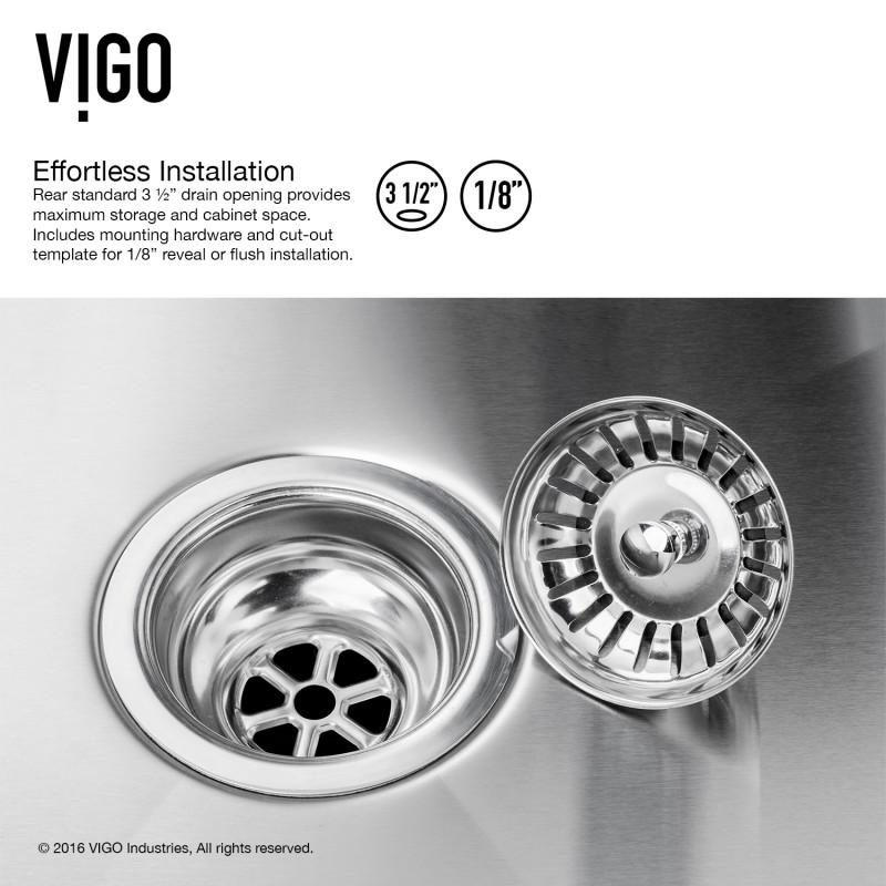 Vigo 32 Ludlow Stainless Steel Undermount Kitchen Sink With Grid And Strainer