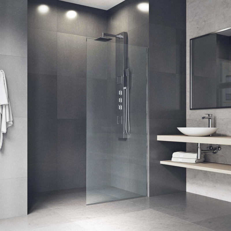 Vigo Zenith 34x74 Frameless Fixed Glass Shower Screen