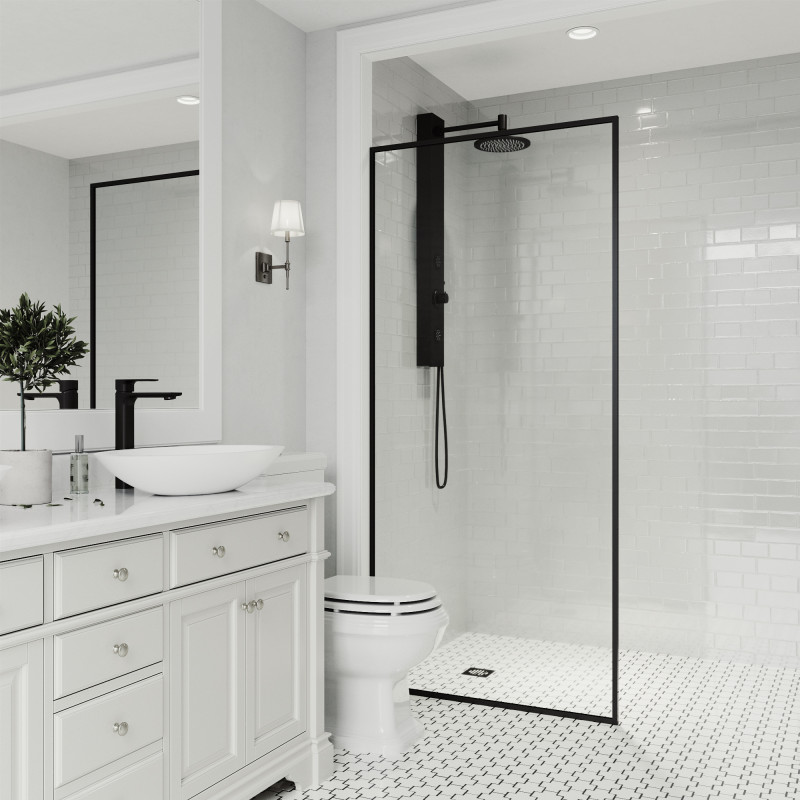 Vigo Meridian 34 Quot X 74 Quot Fixed Glass Shower Screen In Matte Black