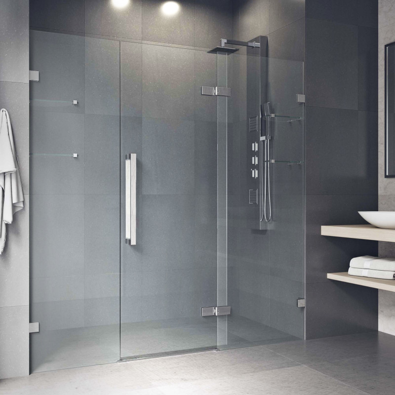Cleaning Guide How To Clean Your Glass Shower Doors Properly: Vigo Seneca 72X74 Adjustable Frameless Hinged Shower Door