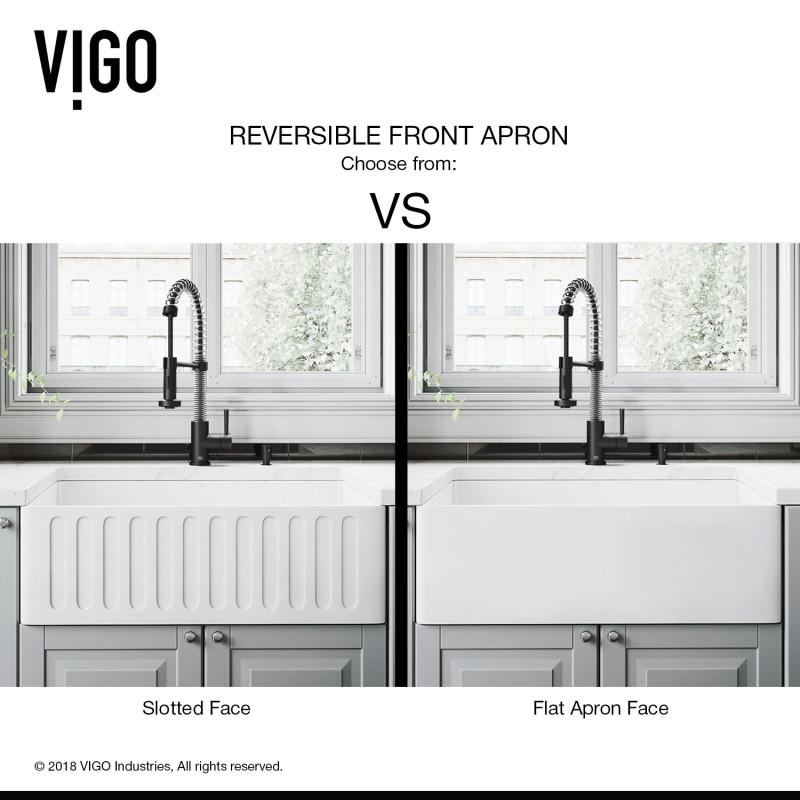 Vigo 30 Matte Stone Farmhouse Kitchen Sink