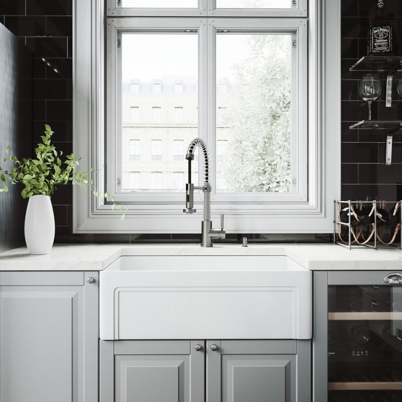 Vigo 30 Quot Casement Front Matte Stone Farmhouse Kitchen Sink