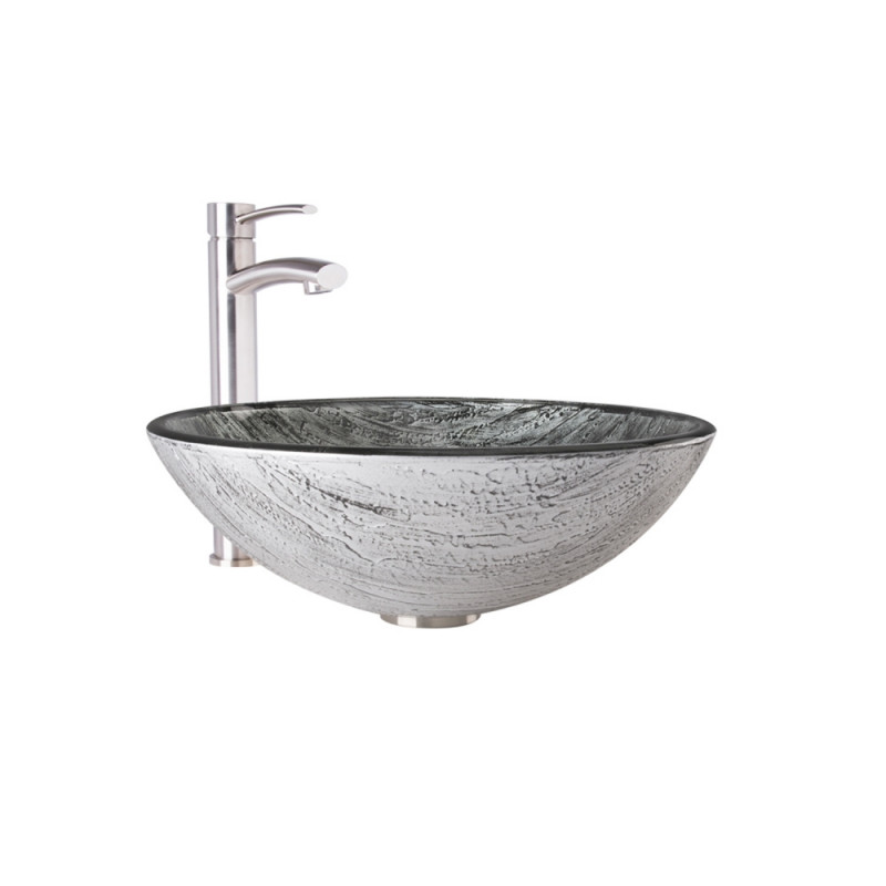 VIGO Titanium Glass Vessel Bathroom Sink Set With Milo Vessel Faucet ...