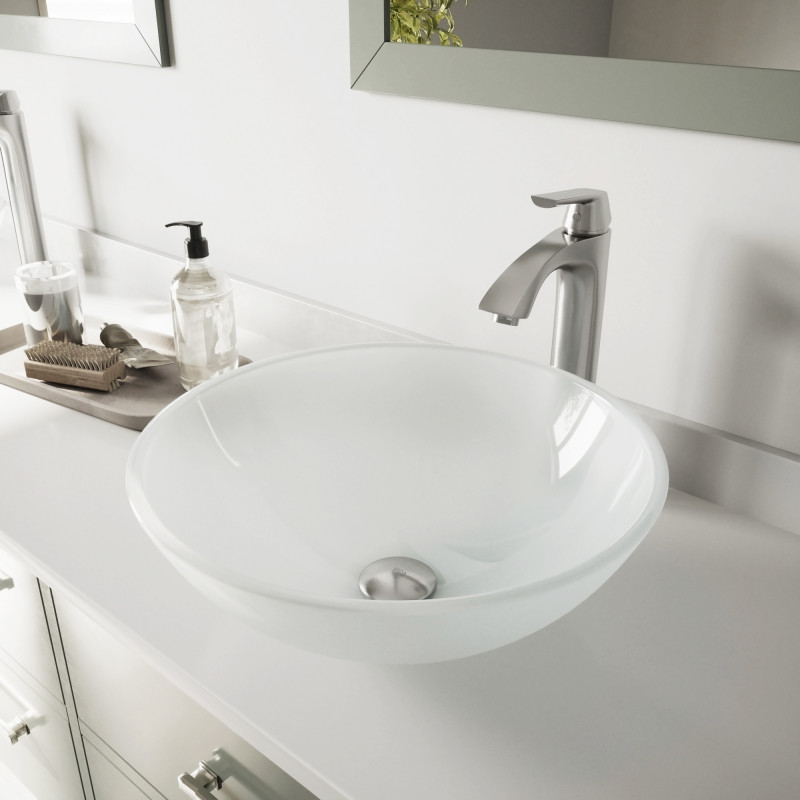 amazing marble countertop sink design and modern faucet.htm vigo white frost glass vessel bathroom sink set with linus vessel  white frost glass vessel bathroom sink