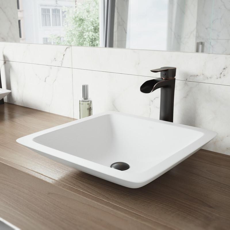 Vigo Begonia Matte Stone Vessel Bathroom Sink Set With Niko Faucet In Antique Rubbed Bronze
