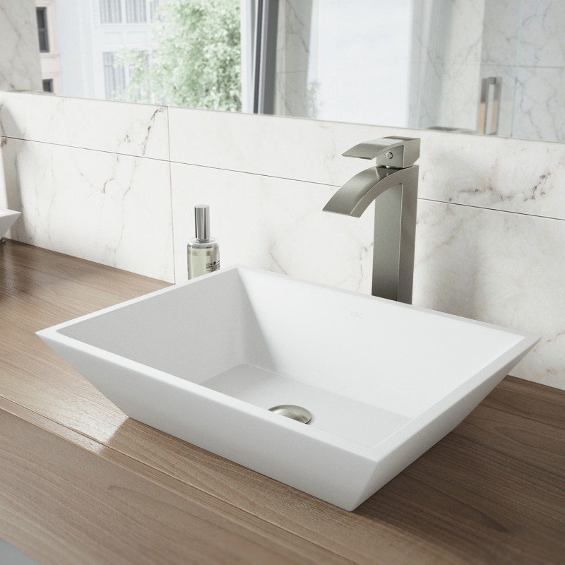 Vigo Vinca Matte Stone Vessel Bathroom Sink Set With Duris Faucet In Brushed Nickel