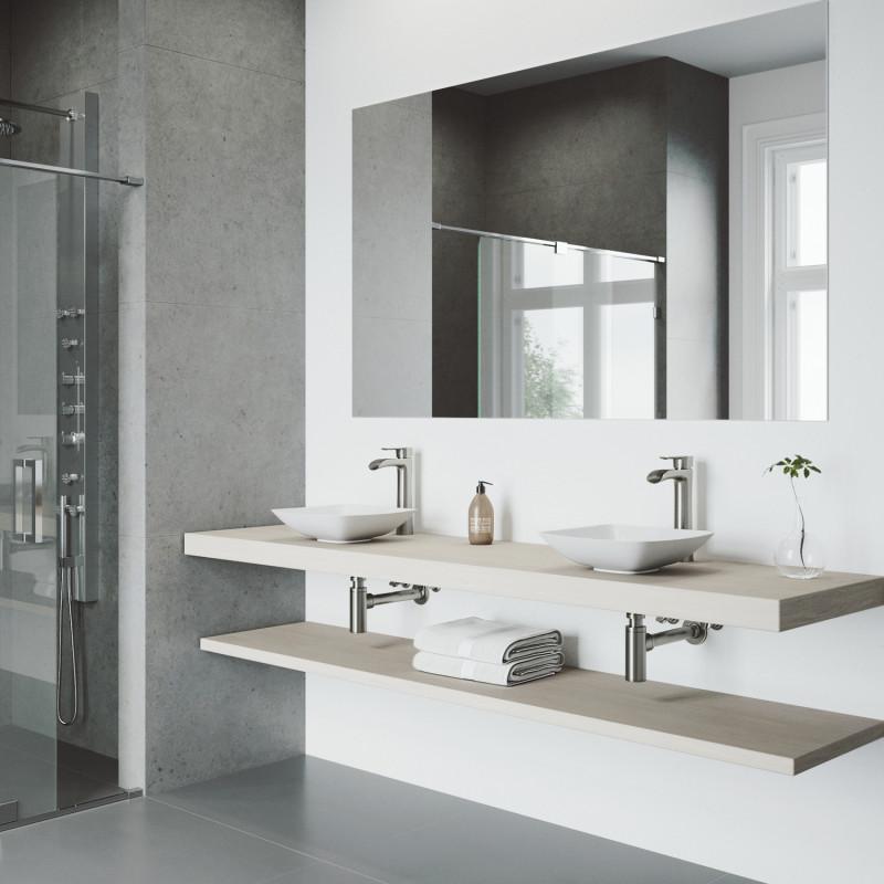 Vigo Hyacinth Matte Stone Vessel Bathroom Sink Set With