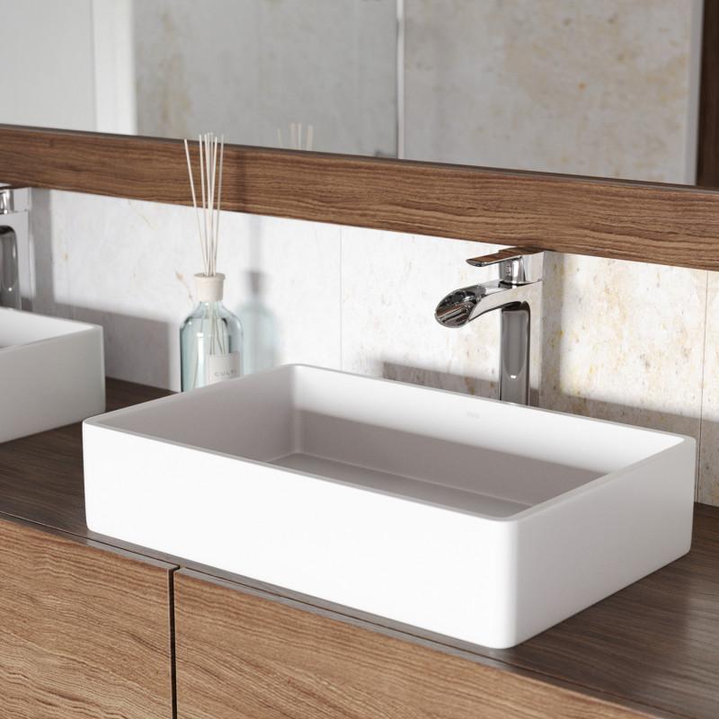 Vigo Magnolia Matte Stone Vessel Bathroom Sink Set With Niko Faucet In Chrome