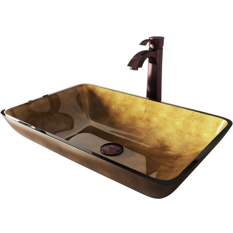Vigo Rectangular Copper Glass Vessel Bathroom Sink Set With Otis Vessel Faucet In Oil Rubbed Bronze