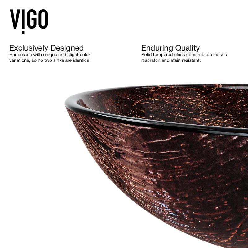 VIGO Kenyan Twilight Glass Vessel Bathroom Sink VG07029