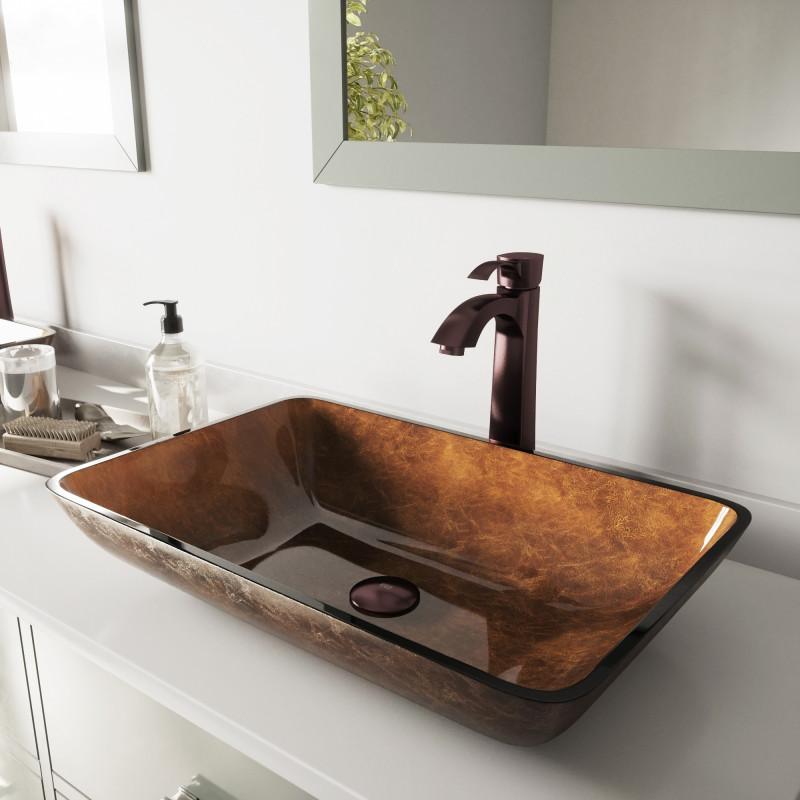 Vigo 22 Rectangular Russet Glass Vessel Bathroom Sink Set With Otis Vessel Faucet In Oil Rubbed Bronze