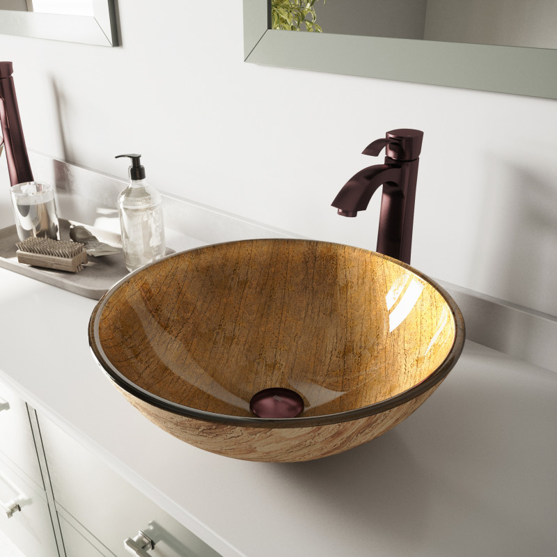 amazing marble countertop sink design and modern faucet.htm vigo amber sunset glass vessel bathroom sink set with otis vessel  amber sunset glass vessel bathroom sink