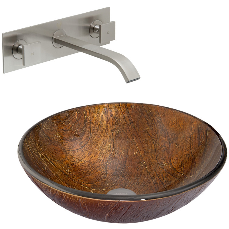 Kenyan Twilight Glass Vessel Sink and Titus Wall Mount Faucet Set in ...