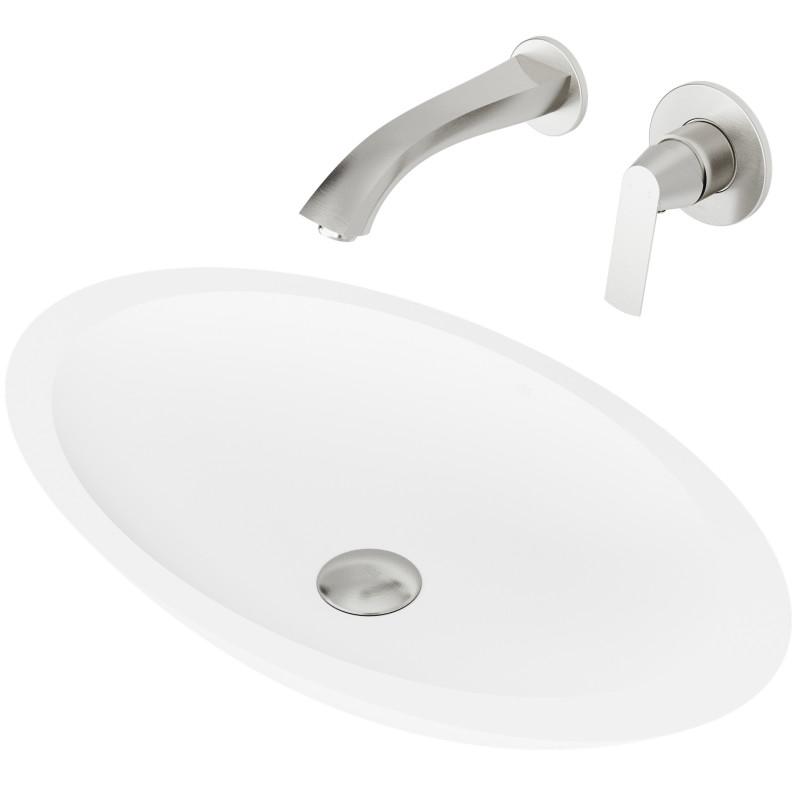 Vigo Wisteria Matte Stone Vessel Bathroom Sink Set With Aldous Wall