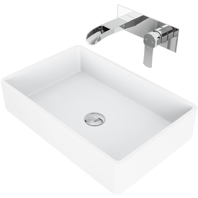 Vigo Magnolia Matte Stone Vessel Bathroom Sink Set With