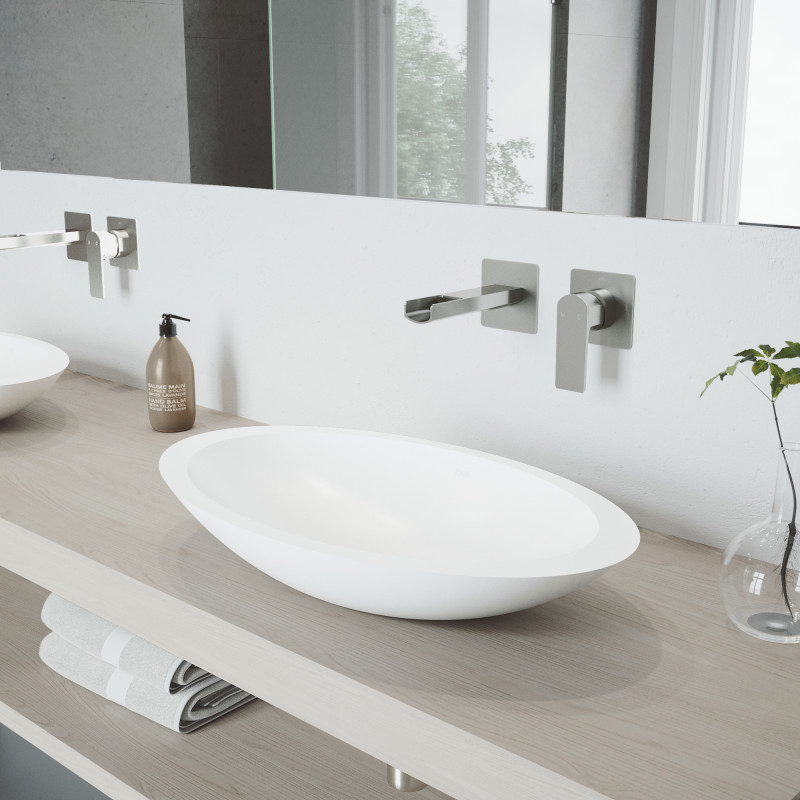 Vigo Wisteria Matte Stone Vessel Bathroom Sink Set With Atticus Wall