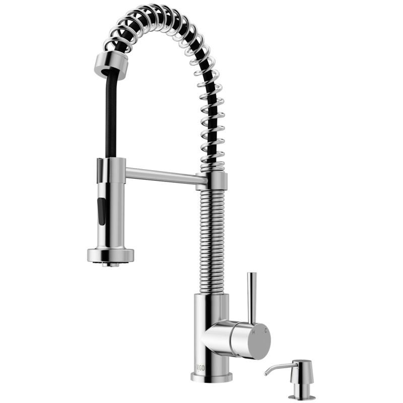 Vigo Edison Pull Down Spray Kitchen Faucet With Soap Dispenser