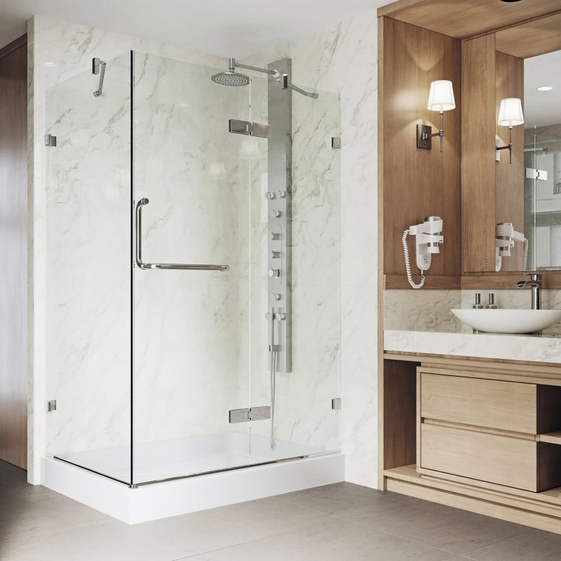 VIGO Monteray Frameless Shower Enclosure With Right Drain Base