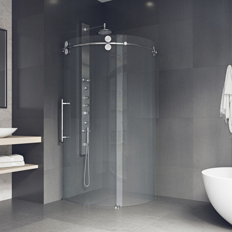 VIGO Sanibel Frameless Round Sliding Door Shower Enclosure With Left ...