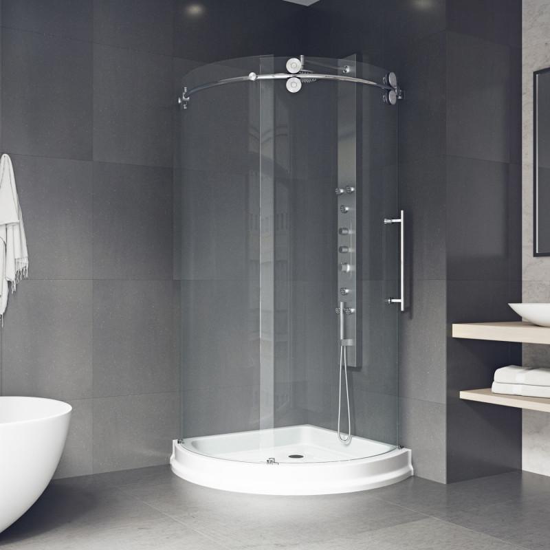VIGO Sanibel Frameless Round Sliding Door Shower Enclosure With ...