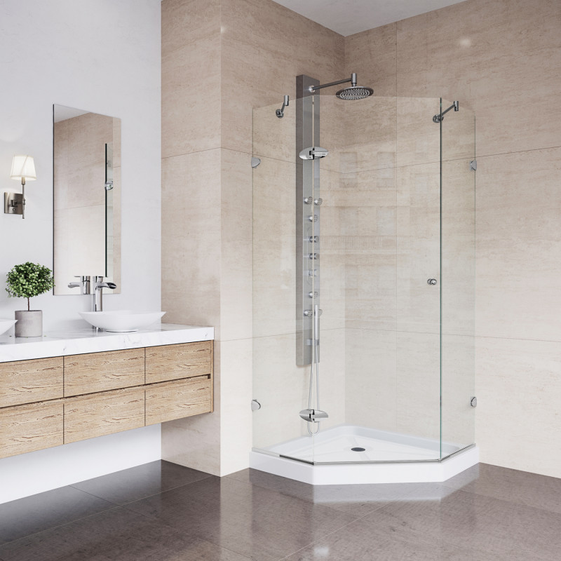 VIGO Verona Frameless Neo-Angle Shower Enclosure With Low-Profile ...