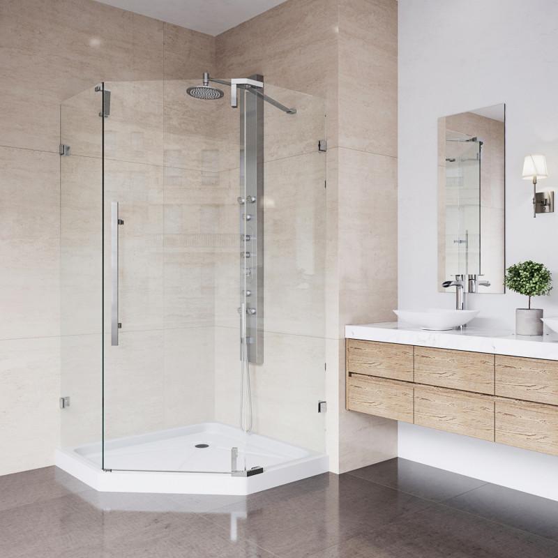 VIGO Ontario Frameless Neo-Angle Shower Enclosure With Low-Profile ...
