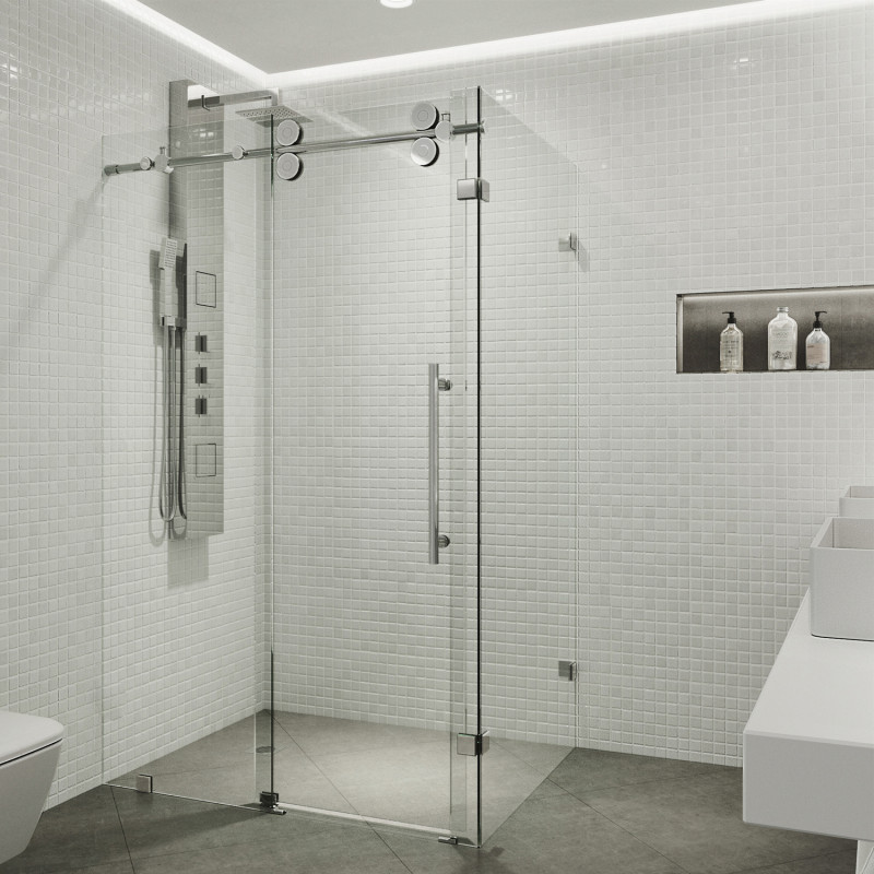 VIGO Winslow Frameless Sliding Door Shower Enclosure - Shower ...
