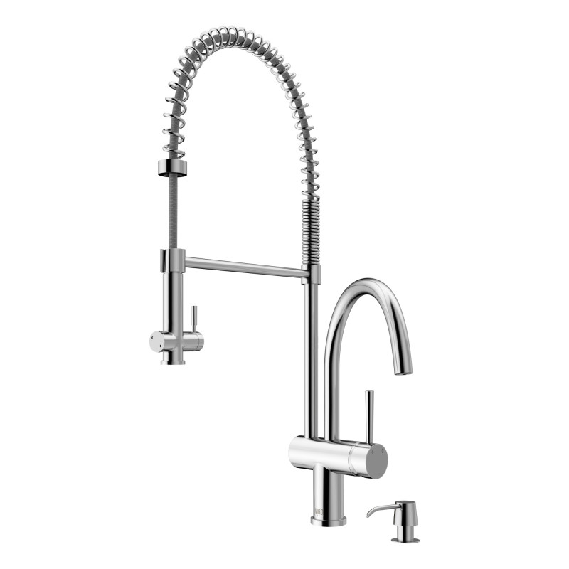 Vigo Dresden Pull Down Spray Kitchen Faucet With Soap Dispenser