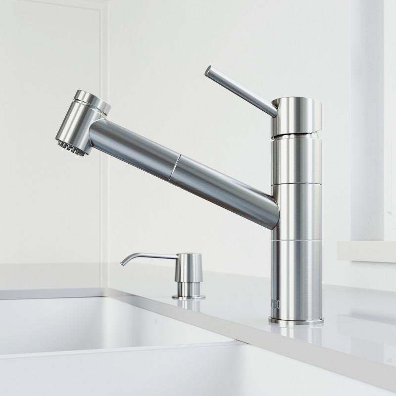 VIGO Branson Pull-Out Spray Kitchen Faucet With Soap Dispenser