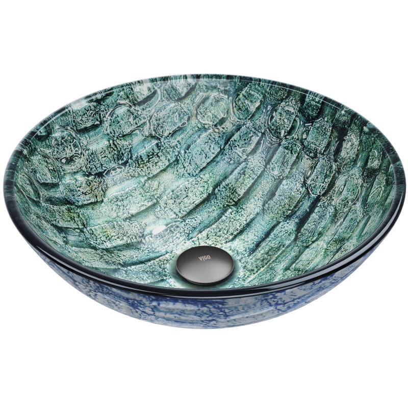Vigo Oceania Glass Vessel Bathroom Sink, Green Glass Vessel Bathroom Sinks