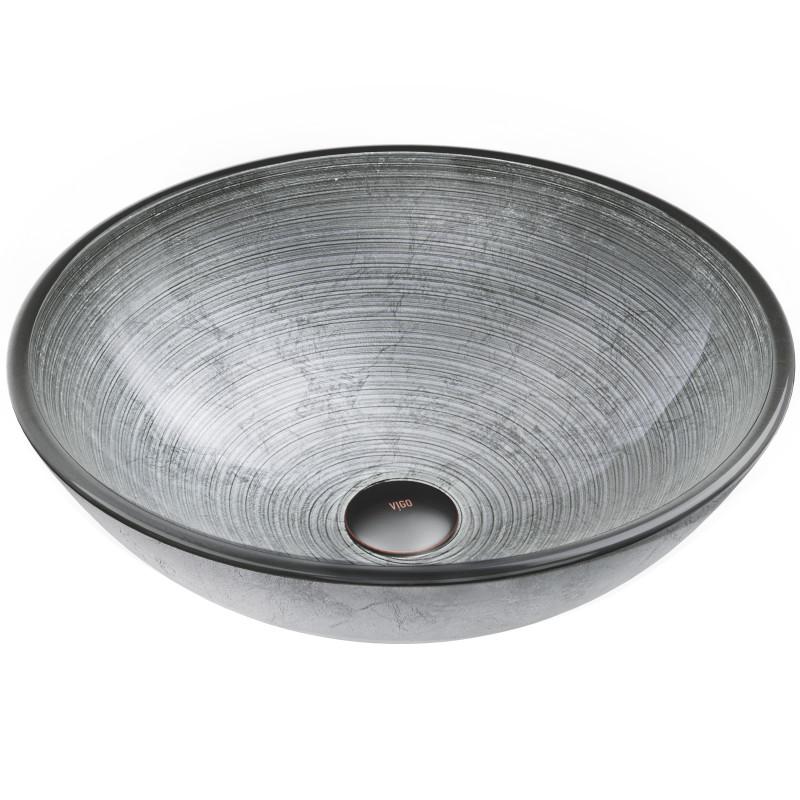 Vigo Simply Silver Glass Vessel Bathroom Sink Sinks